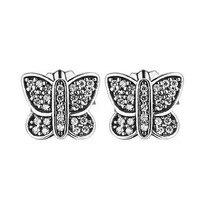 Kompatibel mit Europa Schmuck Funkelnden Schmetterling Ohrstecker 100% 925 Sterling Silber Ohrringe DIY Frauen Schmuck Großhandel