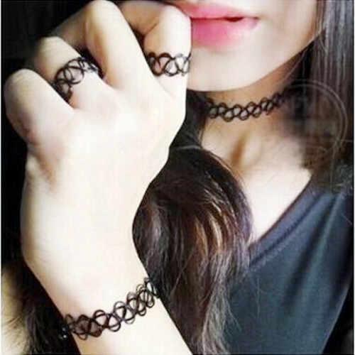 RA307 2018 Горячая Распродажа Новый черный смотанная леска эластичный плетеный браслет кольцо ожерелье женский Шарм ювелирные изделия