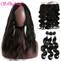 Brazilian Body Wave 360 Lace Front Closure With Bundles 7A Body Wave Brazilian Hair 360 Lace Frontal With Bundle Soft Human Hair