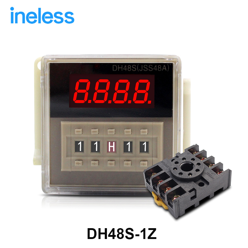 DH48S-1Z high quality AC 220V on-delay SPDT time relay with socket DH48S series 220VAC delay timer with base zys48 s dh48s s ac 220v repeat cycle dpdt time delay relay timer counter with socket base 220vac