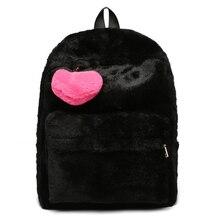 High Quality Women Girl Cute Polyester Backpack Travel Faux Fur Rucksack Shoulder School Bag Bookbag 2019 New