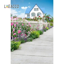 Laeacco Spring Landscape House Yard Fence Flowers Photographic Backdrops Seamless Photography Vinyl Backgrounds For Photo Studio