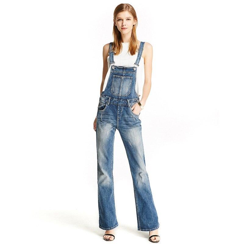 Denim Cut Fit Cloche Jarretelles Longue Idopy Pantalon Slim Rayé Salopette Casual Jeans Femmes Bas Boot 5vwWqgX