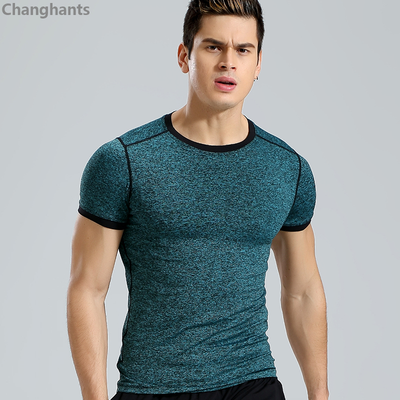 Men Fitness Short Sleeve T-shirt Blue or Green Stitching Running Basketball Tight Jerseys Quick Dry Sportswear Elastic Gym