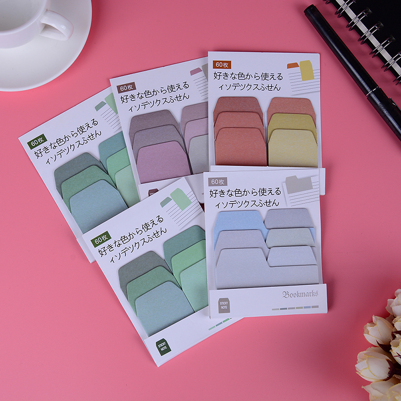 60 Pages/lot Cute Sticker Bookmark Marker Flags Sticky Memo Pad Notes Bookmarks Stationery Student Supplies
