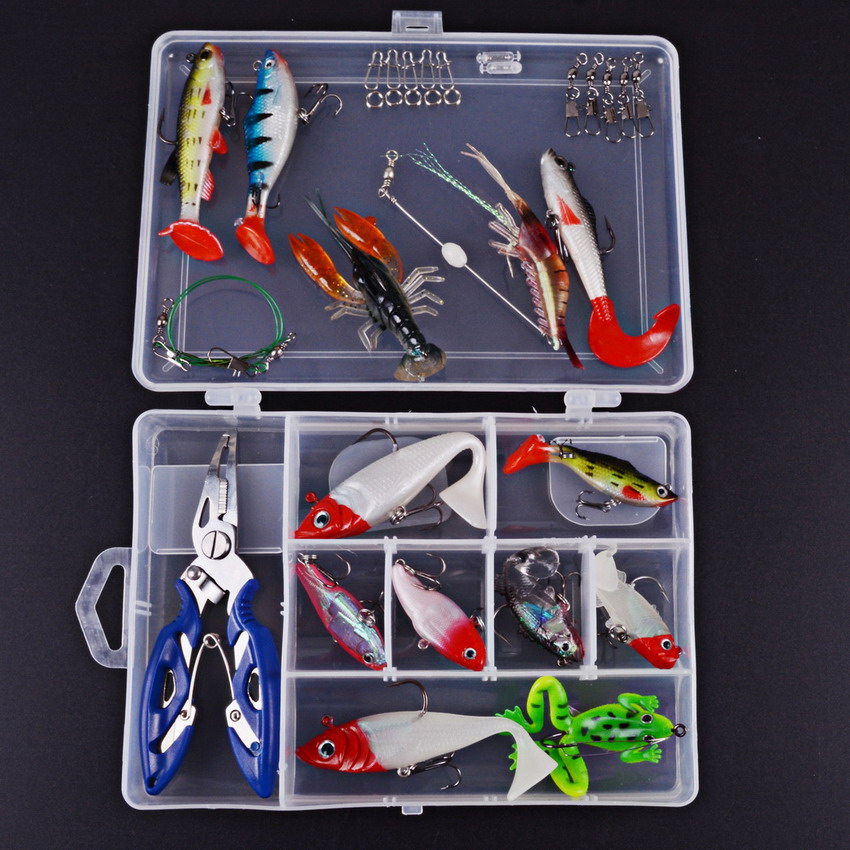 33pcs Soft Bait Sea Fishing Tackle Wobbler Jigging Fishing <font><b>Lure</b></font> Kit Jig Head Silicone Bait Soft Worm Shrimp Set With Tackle Box