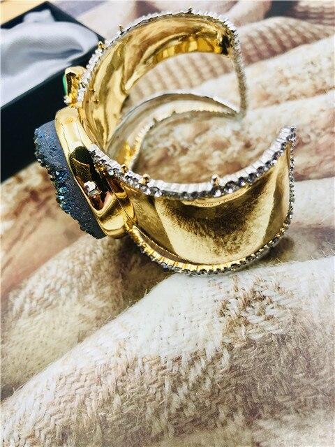 Livraison gratuite griffe exagérée cuivre avec bracelet en pierre bracelets - 5
