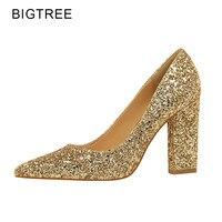 BigTree זהב כסף נשים משאבות עקבים גבוהים נעלי חתונה חדשות נשי הבוהן מחודדת העקב עבה 2018 פאייטים מיוחד יציב Size34-39