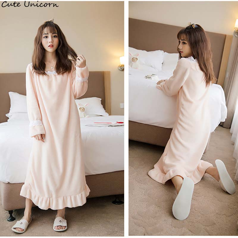 2018 Princess Lace ladies Autumn Winter Women long elegant Dignified Pajamas high-end dress Warm Nightgown Female Sleepwear