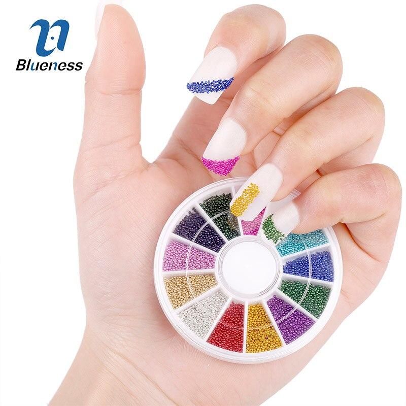 Top prego 12 cores aços Beads Studs para Nails Metal Caviar Design roda de encantos decorações 3D fontes da arte do prego ZP206