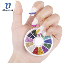 Nail Art Rhinestones 12 Color Steel Bead Studs For Nails Design Wheel Charms 3D Nail Art