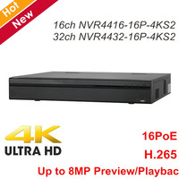 DH NVR 16ch NVR4416 16P 4KS2 32ch NVR4432 16P 4KS2 16 ports POE 4K high resolution H.265 Network Video Recorder Up to 8MP