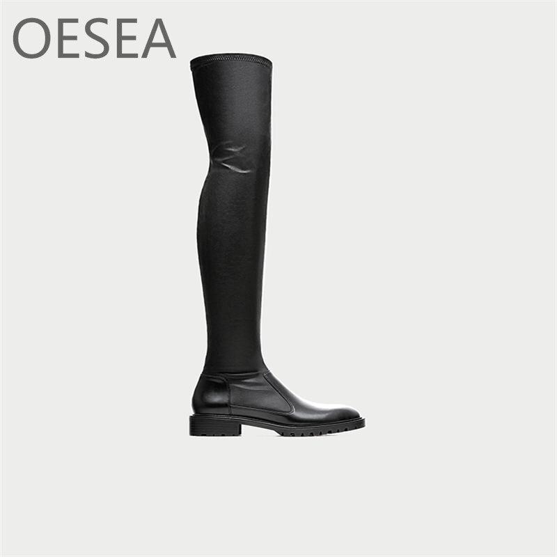 34-39 bottes Nouveau 2018 mode simple noir genou confortable zipper bout rond bottes
