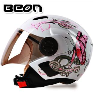 beautiful ECE BEON white pink Butterfly WOMEN Motorcycle helmet,motor bicycle headpiece size L XL titans cg03dg 008 outdoor bicycle cycling helmet red white size l