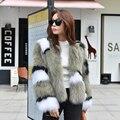 Auténticos reales natural de piel de zorro mujeres de la capa de moda señoras chaqueta de abrigo de piel corto outwear