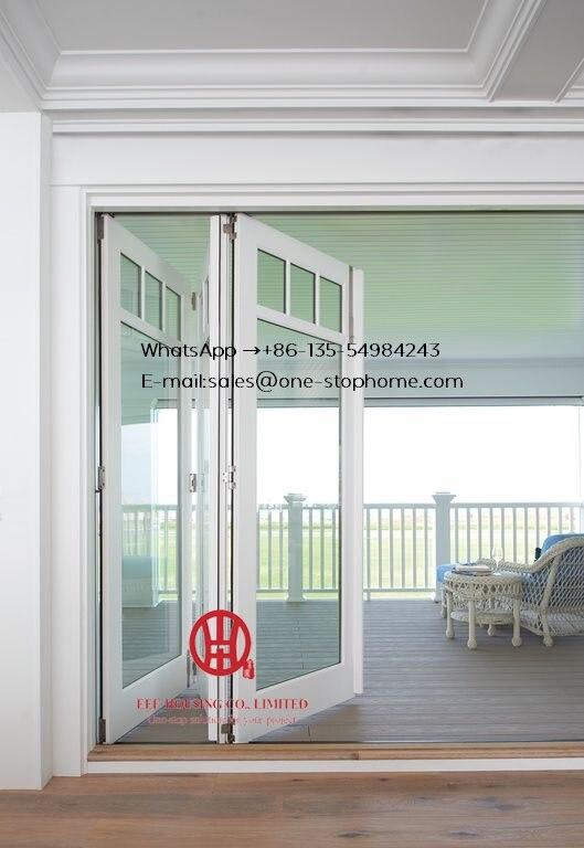 Porte se pliante en aluminium de rupture thermique en verre de low-e de couleur blanche pour la maison de villa, porte de patio de bi de feuille d'alliage d'aluminium