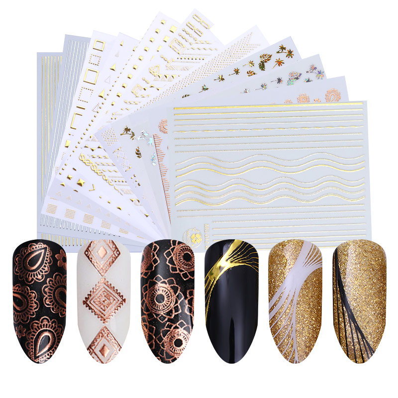 1 Sheet Gold Silver Metal 3D Nail Sticker Lines Multi size Strip Adhesive Nail Art Transfer Sticker Manicure Nail Design-in Stickers & Decals from Beauty & Health