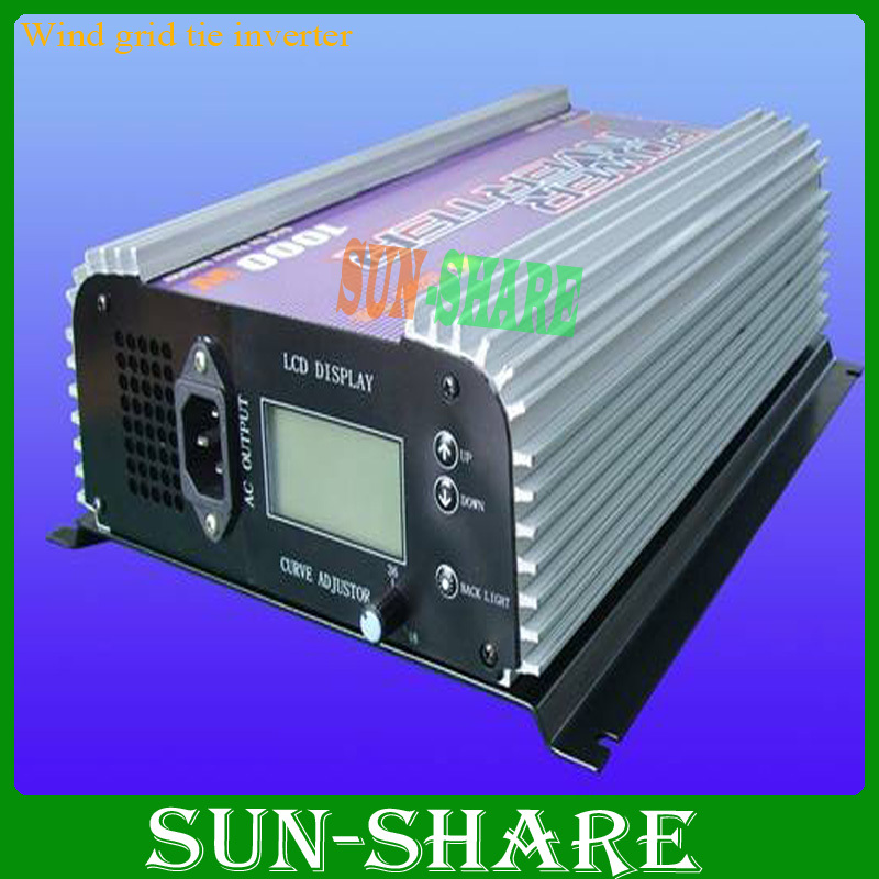Free shipping 1000W/1KW  wind grid tie inverter (AC 3phase input )+dump load resister+dump load connection  +LCD display
