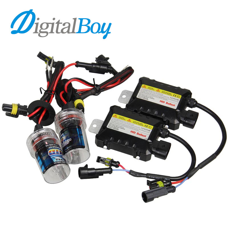 DIGITALBOY 12V 55W H8/H9/H11 Xenon Bulb Kit HID Ballast Block Car Headlight Lamp for 4300k 5000k 6000k 8000k 10000k Light Source digitalboy 12v dc 35w hid h1 xenon ballast kit slim block with bulbs lights headlight 5000k 6000k 8000k car front light lamp