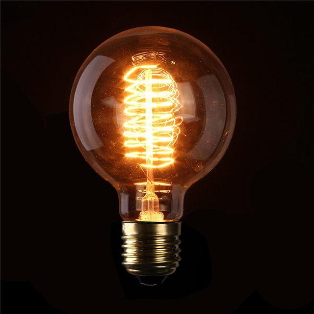 Bombilla Edison vendimia E27 G95 60 W Luz Incandescente Retro Transparente Lámpara de Filamento de Tungsteno Blanco Cálido Iluminación AC110V 220 V