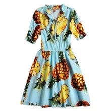 New Summer Pineapple Girls Dress Cotton Half Sleeve Kids Dress Girls Beach Dress Fashion Kids Clothing Princess Dress for Girls kids pineapple print tie dress