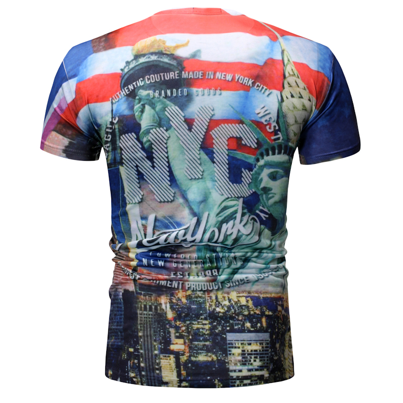 ZOGAA 2019 New Liberty 3D Three-Dimensional Printing Men Cultivating Short-Sleeved T-Shirt Causal O-Neck Tee Men