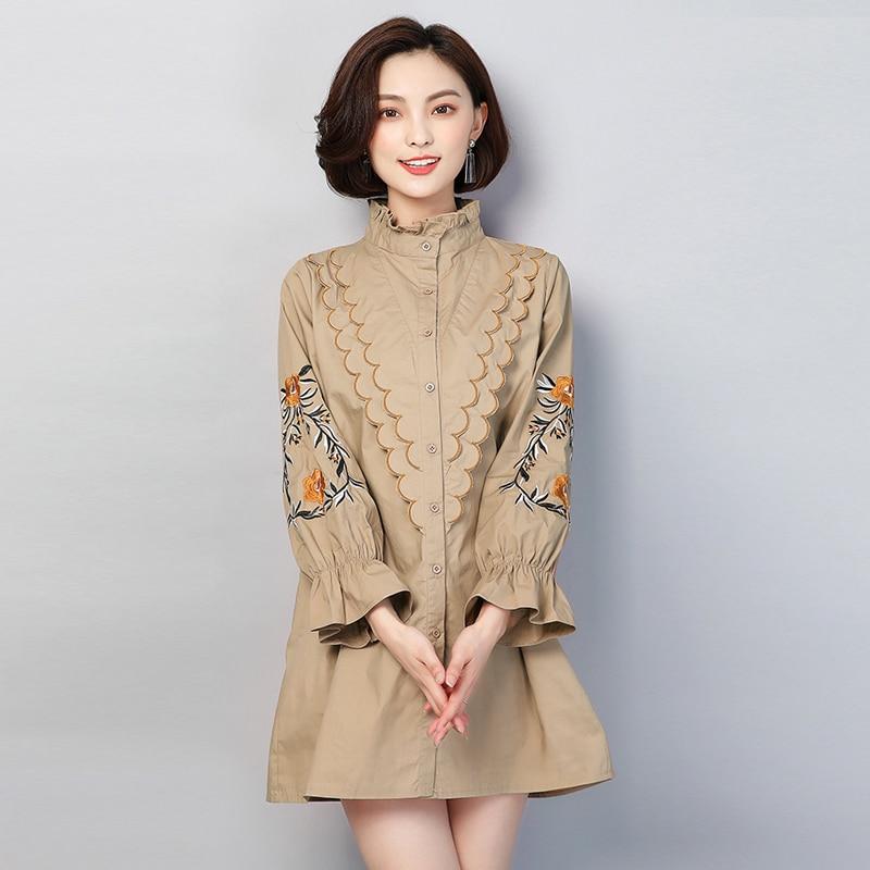 Plus Size 2018 New Autumn Women   Shirts   Ruffled Loose Full Sleeve Slim Fat Long Embroidered Thornep   Blouse     Shirt   Khaki 1171