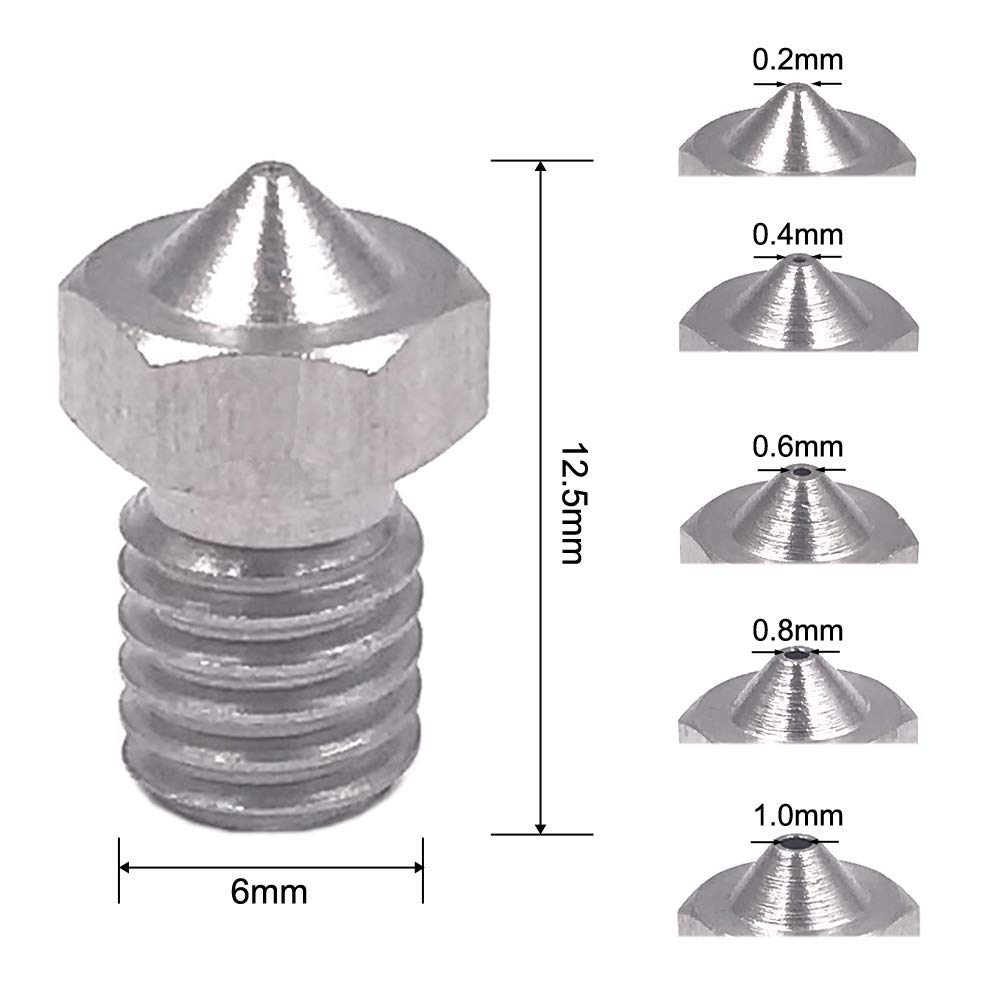 Image 2 - 15 Pieces Stainless Steel 3D Printer Nozzles 0.2 Mm, 0.4 Mm, 0.6 Mm, 0.8 Mm, 1.0 Mm Extruder Nozzle Print Head For E3D Makerbo-in 3D Printer Parts & Accessories from Computer & Office