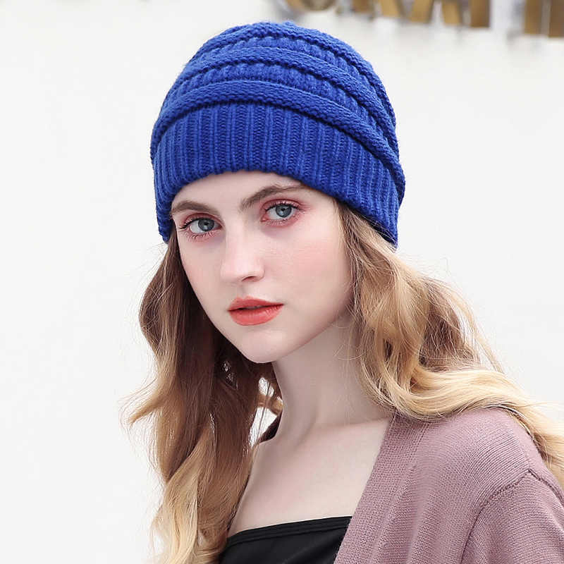 bcea6f6f6c3339 ... Drop Shipping Beanie Women Cap Hat Skully Trendy Warm Chunky Soft  Stretch Cable Knit Slouchy Beanie ...