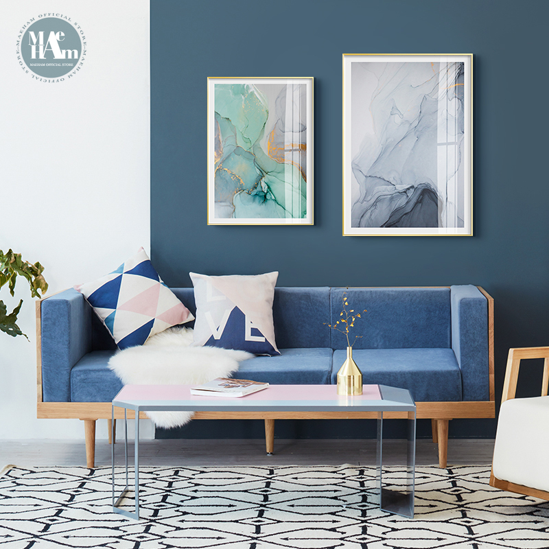 Nordic Abstract gold foil wall art canvas Posters Prints Watercolor pink Blue Pictures Living Room morden print Unframed Poster
