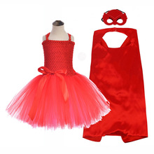 Red Superhero Baby Girls O-neck Amaya Pattern Tutu Dress for Girls Cartoon Poster Super Hero Cosplay Costume with Masks Cloak 8Y ruth amaya туфли