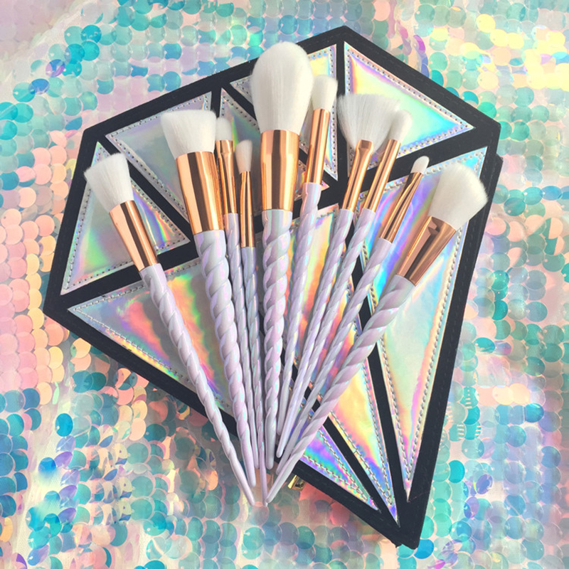 10 PCS Professionnel Maquillage Brush Set Licorne Arc-En-Diamant Sac Visage et Des Yeux Poudre Fondation Sourcils Make Up Brush Kit outils