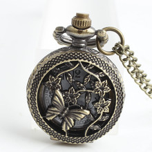 Retro Bronze Pocket Quartz Watches Butterfly and Flower Openwork Cover Pocket Quartz Watch Necklace Relojes Mujer Montre Clcok