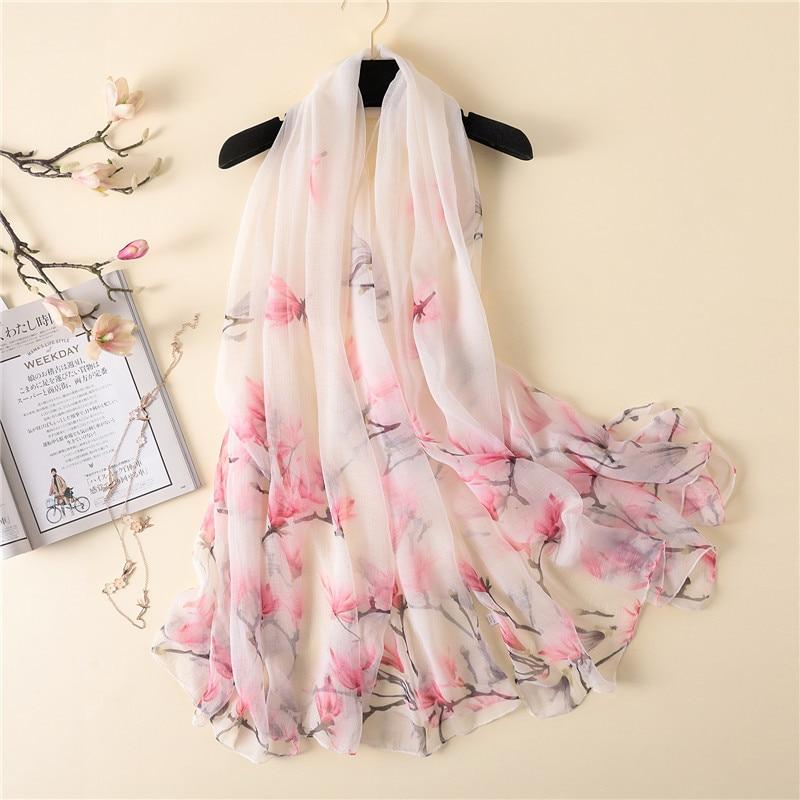 2020 New Silk Scarf For Women Magnolia Printing Shawl Wrap Large Pashmina Summer Sunblock Silk Scarves Crocodile Wrinkle Scarf