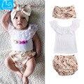 Niñas bebés ropa de algodón recién nacido ropa de bebé camisetas + head band + pp pantalones cortos 3 unid bebés que arropan fija traje de verano para niños