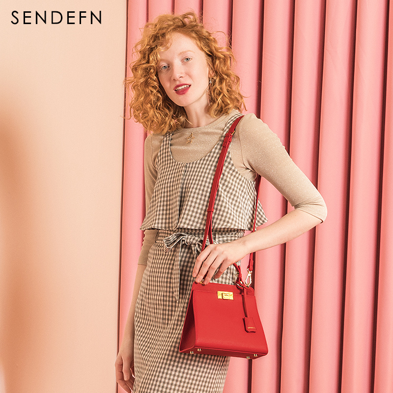 SENDEFN Brand 2018 New Shoulder Bag Female Small Crossbody Bag For Women Bag Split Leather Red Ladies Handbag Fashion Totes foxer women s split leather handbag female new fashion shoulder bag ladies versatile crossbody bag small flap bag for girl