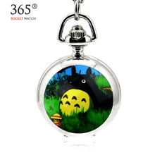 2016  Fashion Totoro Cartoon Steampunk Antique Clock for necklace chain Pocket Watch For Men and Women Gift relogio de bolso