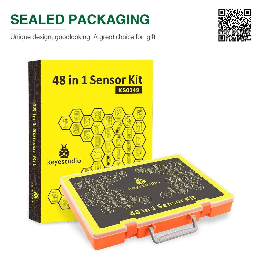 Le plus récent! Kit de démarrage de capteur Keyestudio 48 en 1 avec boîte-cadeau pour projets Arduino bricolage (capteurs 48 pièces)
