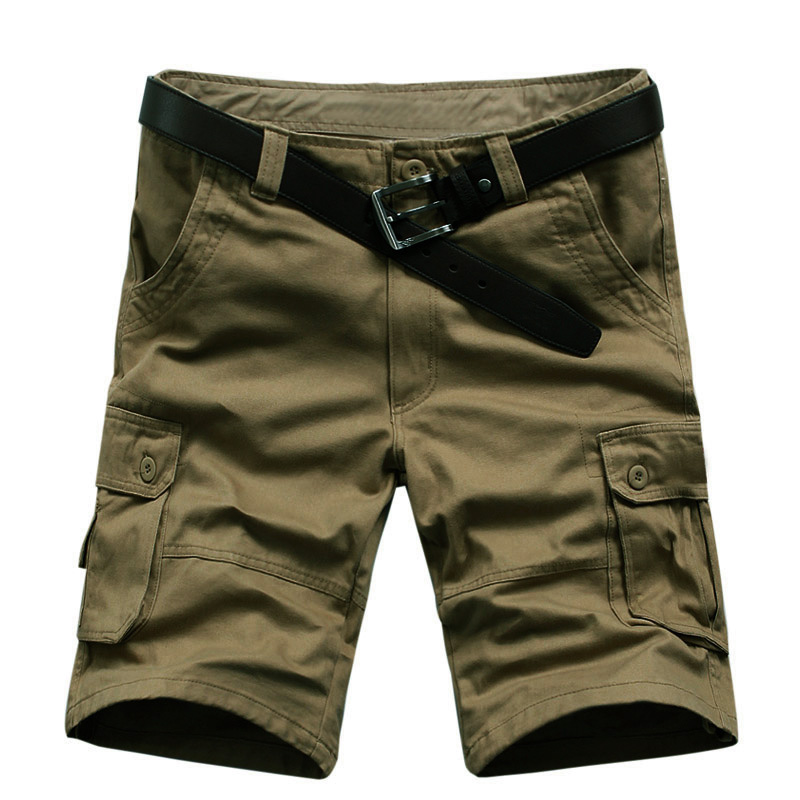 2017 mens casual shorts military shorts with many pockets men knee length army green frock loose shorts