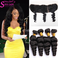 Ear To Ear 13x4 lace frontal Closure With Bundles 7a Brazilian Loose Wave Frontal closure with 4 bundles 100%human hair 5pcs lot