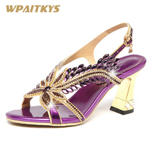 Crystal High-heeled Shoes Woman Purple Golden Rhinestone Elegant Buckle Strap Fashion Women's Shoes Wedding Banquet