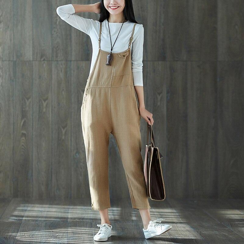 ilstile 2018 Fashion Womens Strap Casual Jumpsuit Pockets Dungaree Harem Trousers Cotton Linen Overall Ankle-Length Pants M-XXL