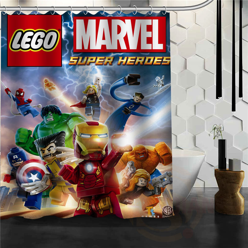 Classical Latest Hot LEGO Marvel Shower Curtain Pattern Personalized Custom Bath Curtain Fabric Polyester Waterproof H0308@72