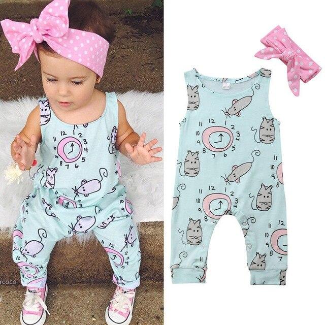 פעוט יילוד תינוק בנות בגדי קשת דוט סרט עגול צוואר שרוולים גיאומטריה Rompers 2 pc כותנה ילדי קיץ חמוד תלבושות