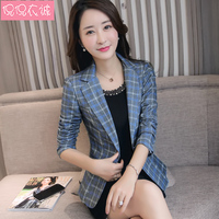2018 Fashion Lattice Small Suit Womens Blazers Long Sleeve Plaid Button Office Lady Slim Casual Formal