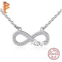 100% 925 Sterling Silver Chain Necklaces Infinity Mặt Dây Necklaces Luxury Cưới Trang Sức Quà Tặng YX1103