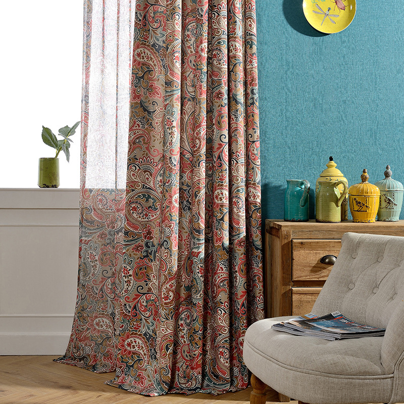Colorful Living Room Curtains: Colorful Printed Jacquard Curtains For Living Room Curtain