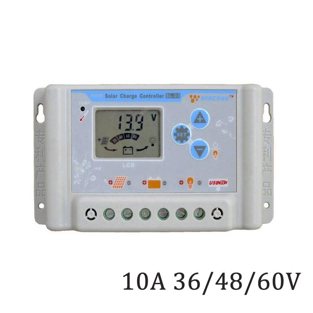 Solar Controller 10A LCD 36V 48V 60V Solar Panel Charge Regulator USB 5V Mobile phone charger