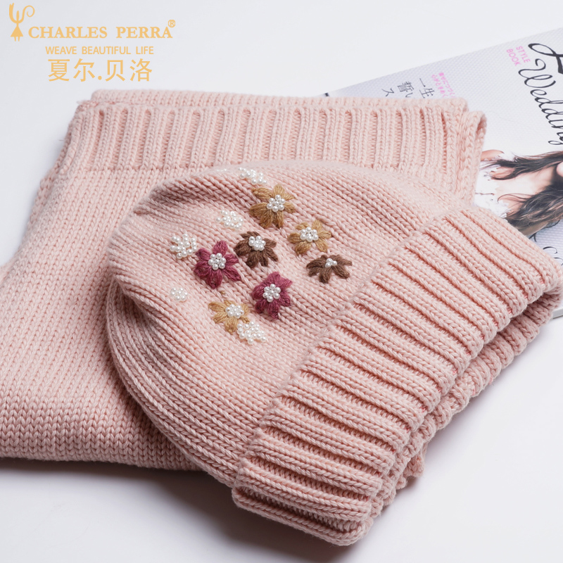 Charles Perra NEW Women Winter Hats Scarves Two Piece Sets Embroidery Casual Elegant Lady Single Layer Knitted Hat 3322 in Women 39 s Scarf Sets from Apparel Accessories