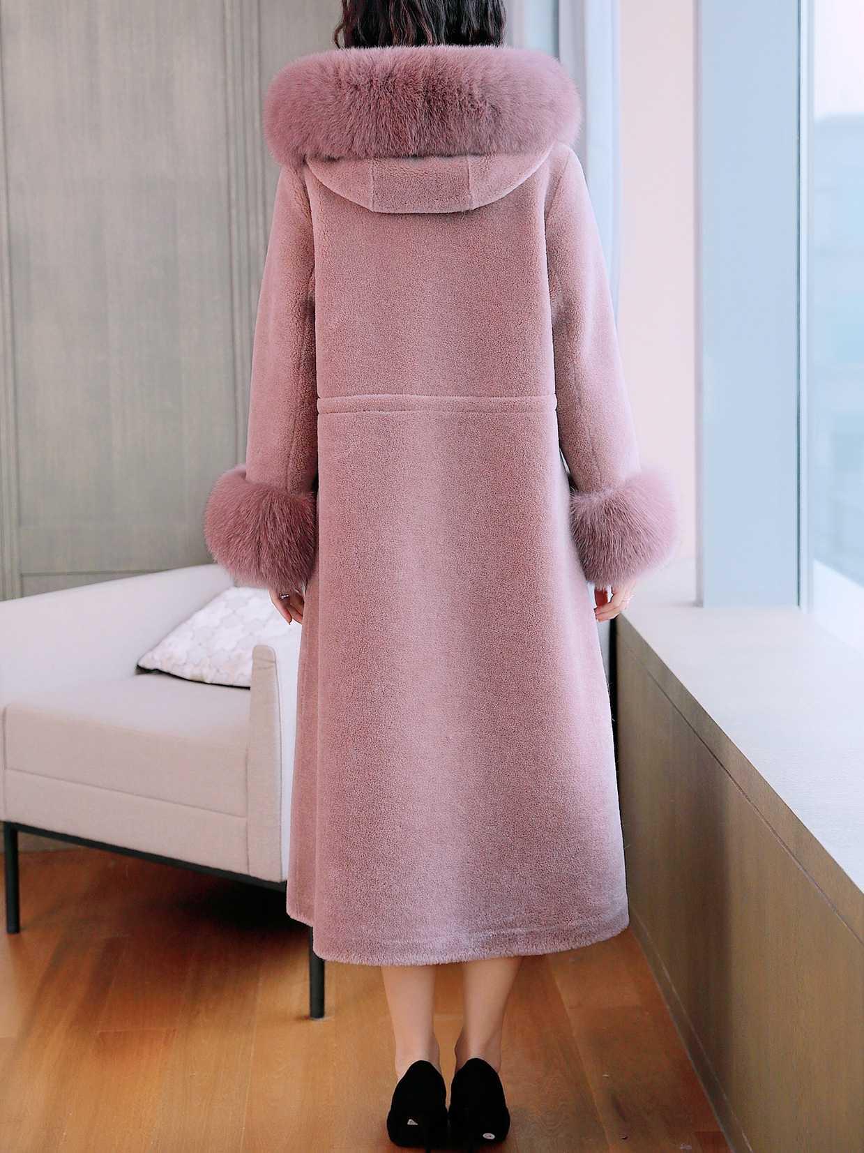 AYUNSUE Echt Schafe Lammfell Pelzmantel Weibliche Fuchs Pelz Kragen 100% Wolle Mäntel 2019 Winter Jacke Frauen Koreanische Lange Mantel MY3658
